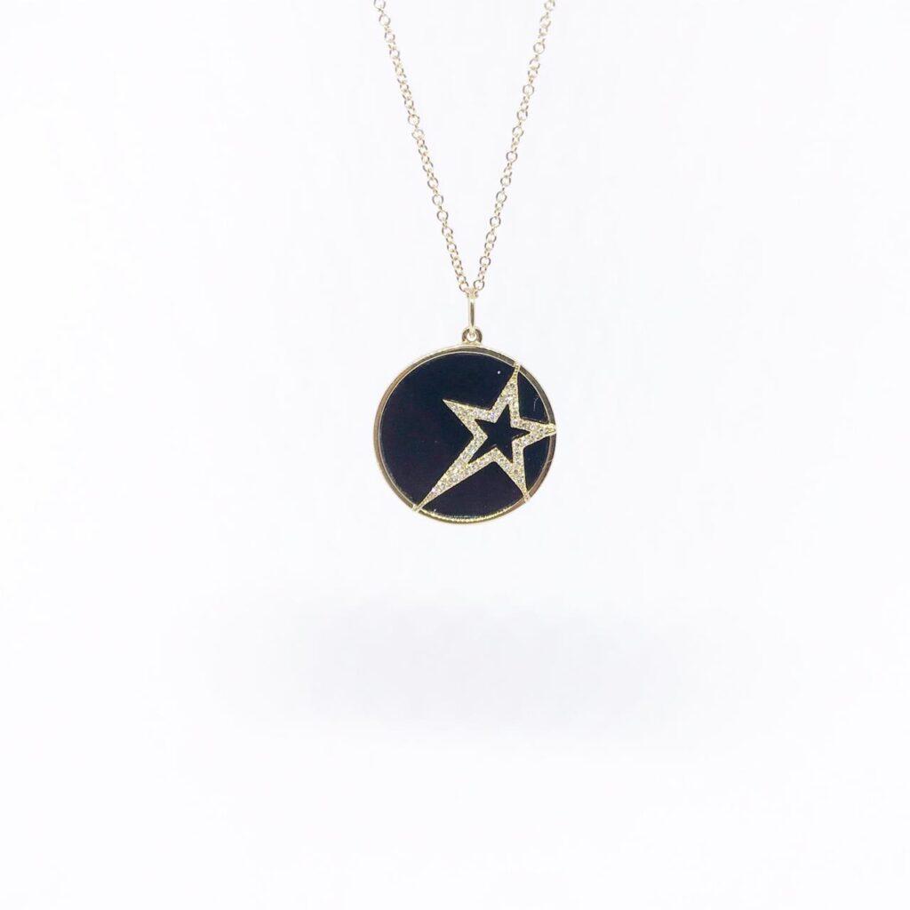 Dije Estrella Onyx con Diamantes