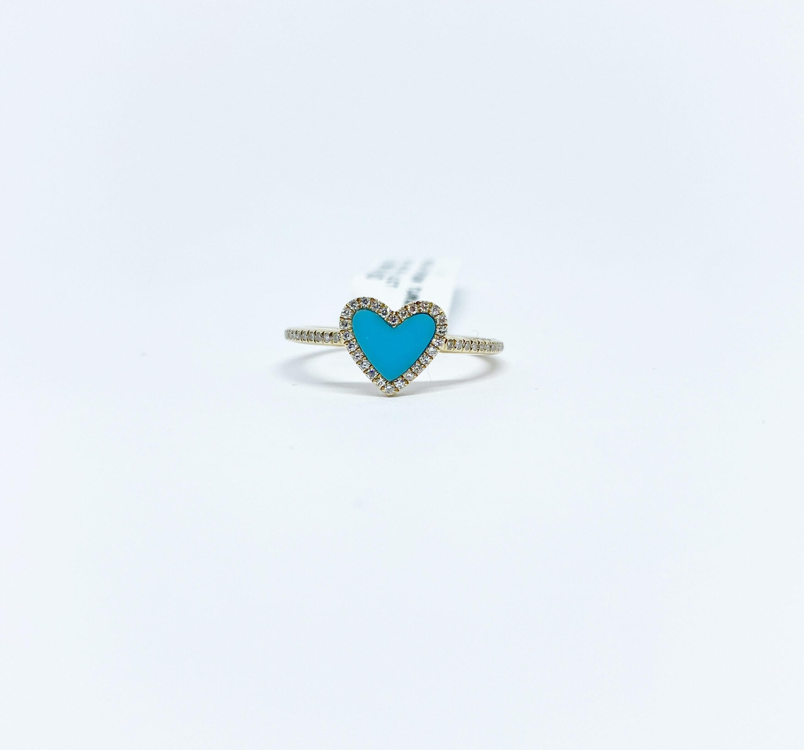 Anillo Corazón Turquesa con Diamantes